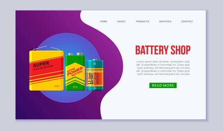 Fast battery shop vector web template illustration. Speed energy symbol or icon. Electric and accumulator batteries supplies design for landing and website. Ilustração