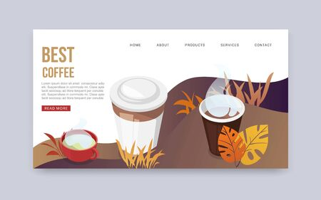 Best coffee web vector banner. Landing page of best start of the day. Cartoon cups and mug of freshly made coffee and autumn leaves. Concept of web page design for website and mobile website. Ilustrace