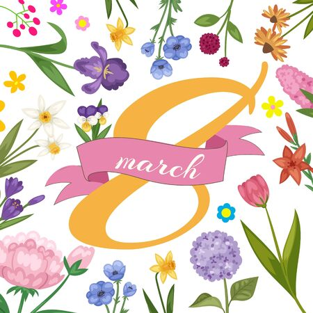 8 march women international day decorated with spring flowers congratulation card vector illustration. Happy Womens Day floral card or poster.