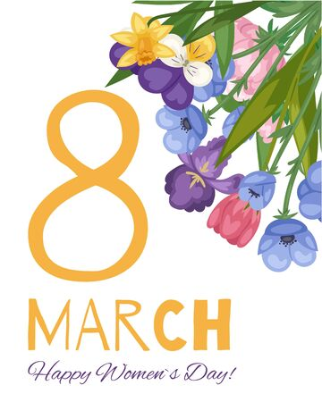 8 march floral card for women international day decorated with spring flowers congratulation vector illustration. Happy Women s Day floral card or poster.