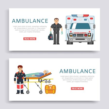 Ambulance, doctors paramedics emergency service with patient disease banners set vector illustration. Medical car and people doctors staff, healthcare emergence medicine.