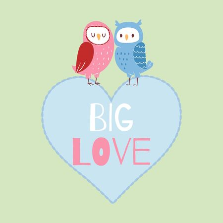 Valentine owls in love card vector illustration. Cute romantic couple of owls sitting on heart with big love quote text. Lovely cartoon characters for valentines day letter.