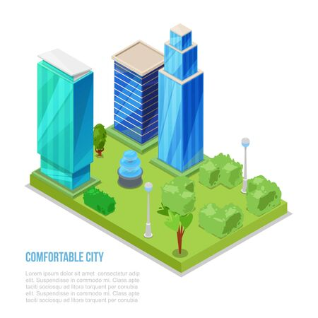 Comfortable city and smart building isometric vector illustration. Intelligent building engineering systems with green plants, city scrappers landscape and environment with new technologies. Ilustração Vetorial