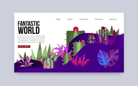 Fantastic word mysterious earth with plants vector webpage template for online games. Bizzare landscape with neon cactuses and leaves of non existing fantastic word website. Ilustrace
