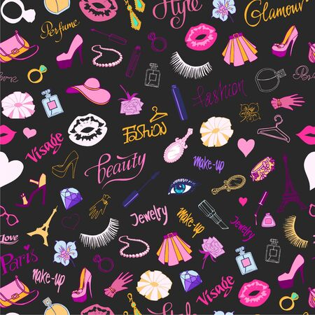 Fashion seamless vector pattern on black background. Illustration of lipsticks, brushes, mirror, ladies shoes and jewelry. Makeup and parfume fashionable items. Morden fashion backdrop.