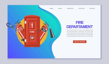 Fire departament service web template vector illustration. Cartoon red firefighter emergency tools set. Elements of the fire departament equipment and fire extinguisher website or landing. Иллюстрация