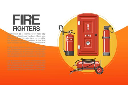 Fire fighters service poster, vector illustration. Cartoon emergency red firefighter rescue tools set with typography. Elements of the fire departament equipment, extinguisher for firemen. Иллюстрация