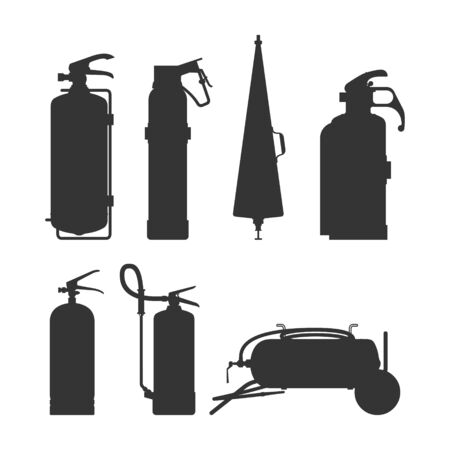 Fire extinguishers and equipment silhouette vector illustration. Cartoon black on white firefighter tools set. Elements of the fire asphyxiators of different forms. Ilustração Vetorial