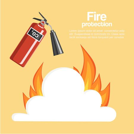 Fire protection poster vector illustration. Cartoon fire extinguisher with steam and flame, firefighter tool. Fire departament warning poster or inflaming prevention banner for print or web.