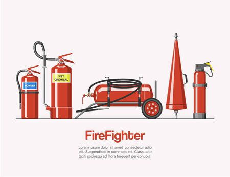 Firefighters service tools vector illustration. Cartoon emergency red firefighter rescue tools set with typography. Elements of the fire departament equipment, extinguisher for firemen.