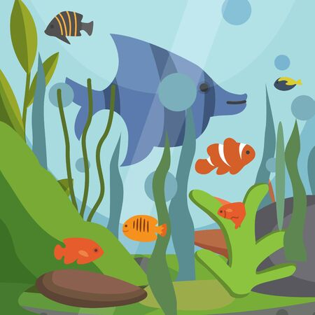 Underwater seascape with exotic fish vector illustration backdrop. Sea plants, fish, blue bubbles of water background. Natural south tropical sealife for zoo aquarium shop or traveling agency poster. Ilustrace