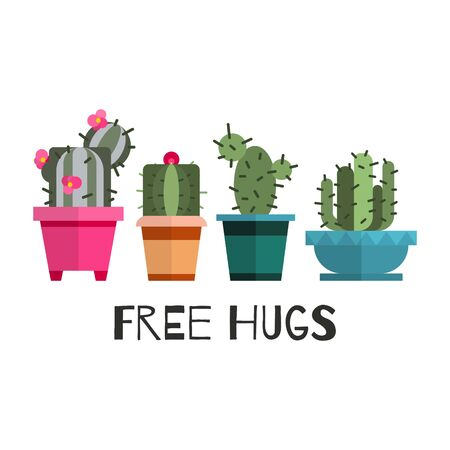 Free hugs cactuses cartoon vector illustration. Banner with cactus and cacti in pots, green home flowers, free hugs with cacti joke cute scandinavian style isolated on white poster.