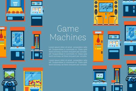 Game machine vector illustration. Arcade gambling games, hunting, fishing, boxing and dancing where gamesome gambler or gamer play in computer machinery. Retro poster.