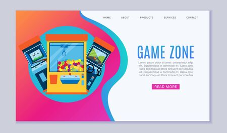 Game zone vector web template illustration. Arcade gambling games, hunting, fishing, boxing and dancing where gamesome gambler or gamer play online in computer machinery website. Stock fotó - 140593549