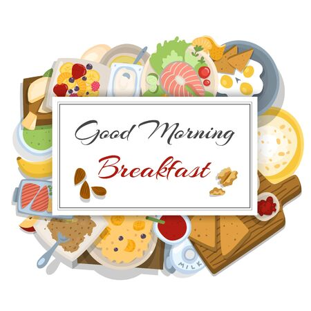 Breakfasts top view frame vector illustration. Morning food menu cartoon design. Breakfast and brunches dishes collection with eggs, bread nd butter,oatmeal, fish and fruit salad for restaurant. Illustration