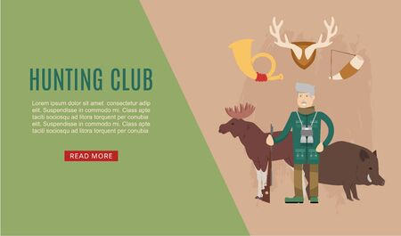 Hunt club web template banner with hunter holding rifle and stuffed animals elk and aper cartoon vector illustration. Hunting sport club recreation webpage.