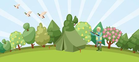 Hunting in forest banner with hunter holding rifle and ducks, trees and hunt tent cartoon vector illustration. Hunting sport hobby recreation background.