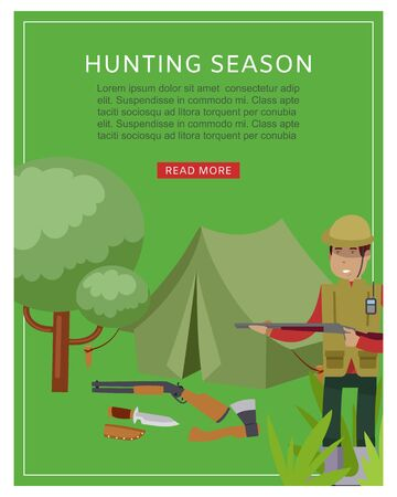 Hunting season in forest banner with hunter holding rifle and guns, trees and hunt tent cartoon vector illustration. Hunting season open sport hobby recreation poster. Illusztráció