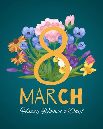 March 8 flowers floral card for women international day decorated with spring flowers and typography vector illustration. Happy Womens Day eight of march floral card or poster. 向量圖像