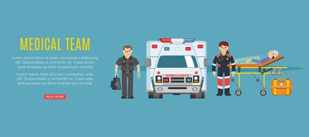 Medical team ambulance, doctors paramedics emergency service with patient disease vector illustration. Medics people doctors team and patient near ambulance car, healthcare emergence medicine. Иллюстрация