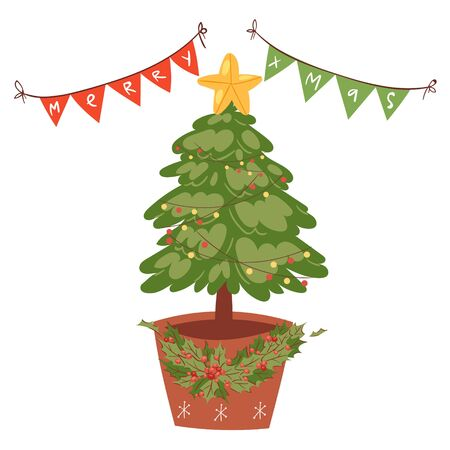 Decorated christmas tree with star, lights, decoration balls and lamps garlands isolated on white cartoon vector illustration. Merry Christmas and a happy new year fir tree and garlands.