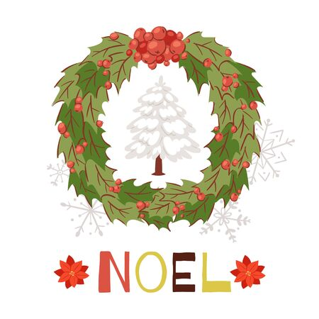 Christmas wreath with snowy fir tree and shining Noel typography cartoon card vector illustration. French text Joyeux Noel for christmas winter holiday.