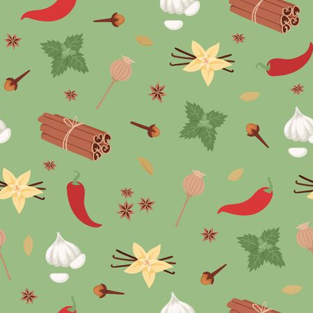 Spices seamless pattern spicy aroma and flavor ingredient of food condiments vector illustration. Cinnamon, cloves, pepper and curcuma, vanilla spices background.
