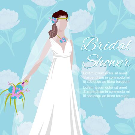 Beautiful bride holding a bouquet for wedding poster cartoon illustration. Bridal shower romantic or wedding invitation fashion template.