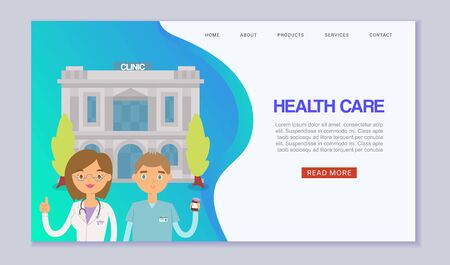 Medical clinic building web template. Cartoon illustration of medics doctors standing in front of hospital building. Medicine diagnostic web banner. Medicine health care webpage.