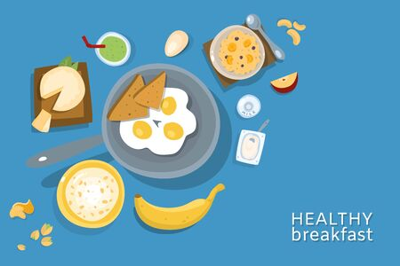 Healthy breakfasts top poster frame illustration. Morning food menu. Breakfast and brunches dishes collection with eggs, bread, oatmeal,cheese and nuts, healthy morning menu. for restaurant.