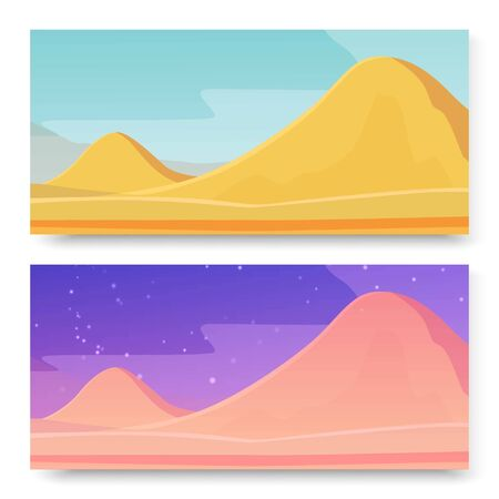 Mountains in deserted area on planet, two banners set vector illustration. Day and starry night at deserted mountain landscape with rocks and sand ground. Panorama. Background. Banner. Poster.
