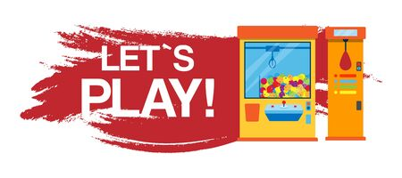 Lets play fishing games machine vector illustration. Gambling games machine where gamesome gambler or gamer hunt and win a toy. Banner with lets play typography.