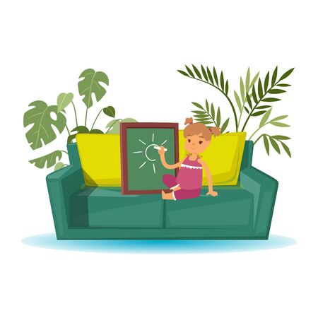 Little girl artist cartoon character draws with chalk on board vector illustration. Cute girl sits on sofa with pillows and home plants and drawing pictures isolated on white.