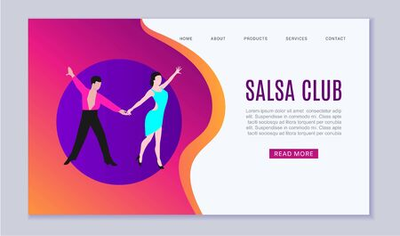 Salsa dancers club or dance school web template illustration. Dancing salsa or latina couple man and woman in cartoon style for dance school and studio website or landing. Ilustração