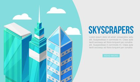 3D city with skyscrapers concept illustration web banner. Urban background with isometric blue glass windows skyscrapers. Perspective scene. Modern business centers or offices location.