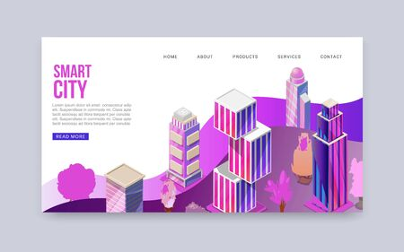 3D smart city with skyscrapers cityscape illustration banner. Urban background with isometric futuristic skyscrapers smart city website. Modern business centers or offices location. Illustration