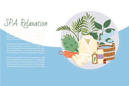 Spa relaxation and and sauna health relax, bath accessories illustration. Sauna relaxing procedures. Buckets, brooms, soaps, plants and bathing cloths for spa background. Vector Illustratie