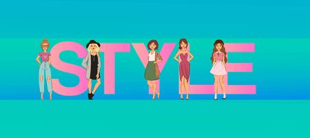 Fashion girls on big style letters illustration blue banner or poster. Style for beautiful ladies. Cute and young model girls. Beauty visage. Vogue style and trendy design for woman.
