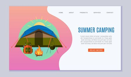 Summer camping for tourism travel agency website illustration. Cartoon bonfire, tent and backpack for outdoors forest camping. Summer adventure. Untouched corners of nature.