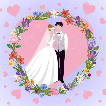 Wedding couple heart card with newly married weds bride and bridegroom love hearts background cartoon illustration. Wedding couple man and woman poster or invitation card.