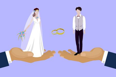 Wedding couple newly married weds bride and bridegroom standing on huge human hands cartoon illustration. Wedding couple man and woman with marriage rings poster.