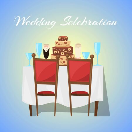 Wedding celebration in restaurant banner with ceremony and gala reception illustration. Wedding ceremony for newly weds married couples restaurant banner.