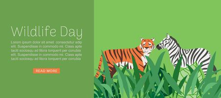 Wildlife day web banner illustration. Cartoon wild tiger and zebra with abstract african jungle decoration for animal care and conservation. Africa wildlife day.