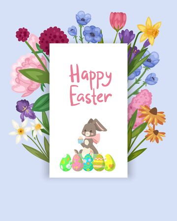 Easter card with spring flowers and cute baby bunn, decorative eggs in frame cartoon vector illustration. Funny bunny for easter holiday spring flowers card. Vektorové ilustrace