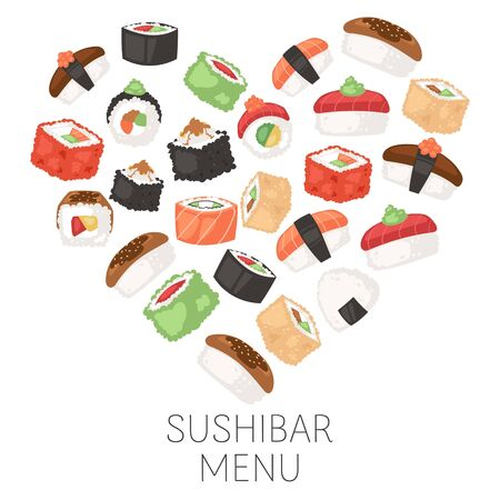 Sushi bar menu Japanese traditional cuisine dishes for sushi restaurant vector illustration poster. Rolls, temaki, tamago, sashimi on wood plate, futomaki, soups and rice for asian sushi bar menu.