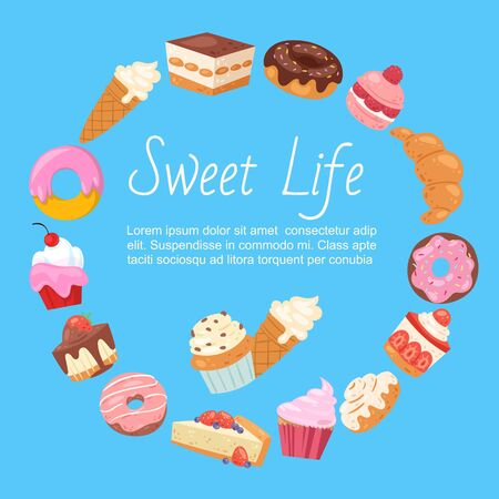 Hand drawn vector template of menu with desserts, sweets and bakery products.