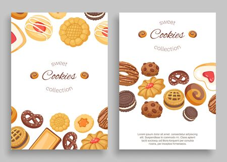 Cookies banners set of different chocolate and biscuit chip cookies, gingerbread and waffle with typography vector illustration. Cookies sweet dessert flyer, menu cover. 向量圖像