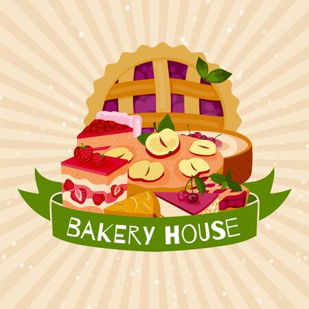 Bakery house banner homemade berries pies dessert vector illustration pie tart. Cartoon berry cheesecake, cake handmade tasty baking goods and bakers house products. 일러스트