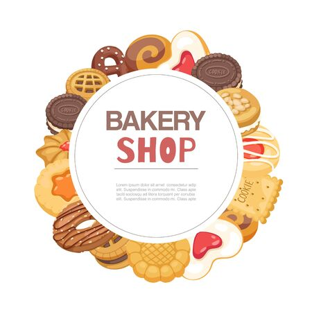 Bakery shop cookies and waffers sweet pastry circle poster cartoon vector illustration. Desserts baked cookies bakery goods poster with typography. 일러스트