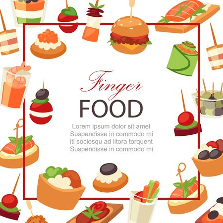 Canapes, tapas on plate, appetizer, finger food with caviar, olives and green vegetables cartoon frame background vector illustration. Buffet, restaurant canape finger food and snack poster.